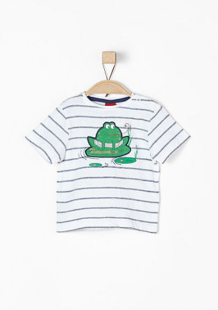 Striped jacquard T-shirt from s.Oliver