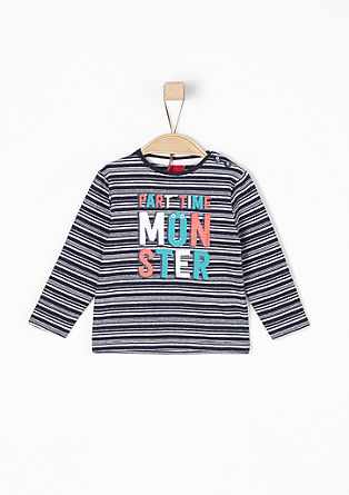 Striped T-shirt with printed lettering from s.Oliver