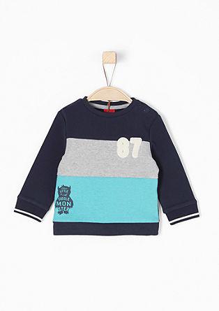 Sweatshirt pulover z blok črtami