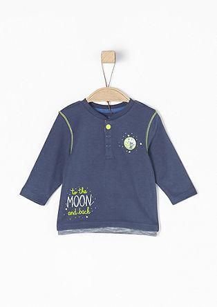 Majica z dolgimi rokavi z letvijo z gumbi
