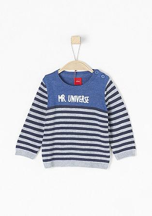 Črtast pulover z gumiranim potiskom