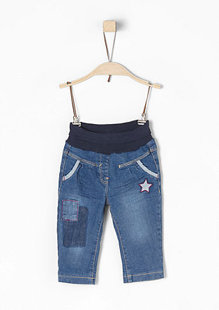 Gefütterte Jeans mit Stern-Patch