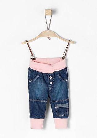 Jeans mit Kontrast-Rippbündchen