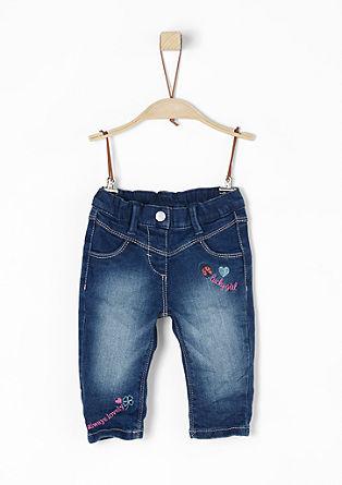 Stretch-Jeans mit Stickereien