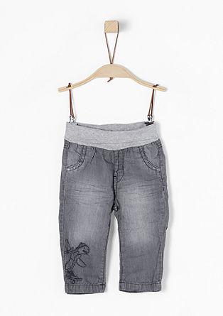 Bestickte Jeans mit Jersey-Bund
