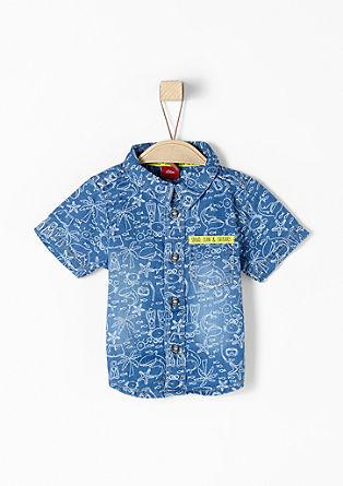 Denim-Hemd mit kurzen Ärmeln