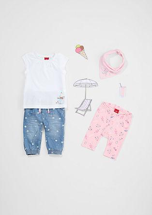 Kalhoty capri s potiskem s plážovým motivem