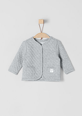 Sweatshirt jacket with jacquard polka dots from s.Oliver