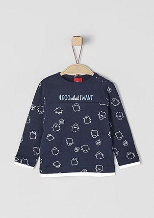 Tričko s dlouhým rukávem a roztomilým natištěným motivem