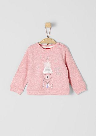 Meliertes Sweatshirt mit Applikation