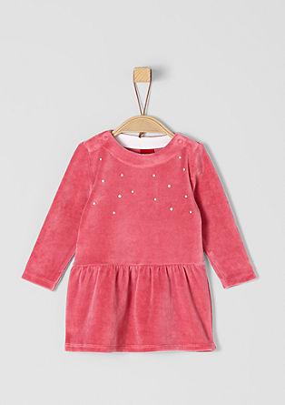 Kleid aus Nicki mit Schmucksteinen