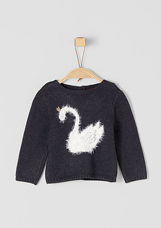 Knitted jumper with swan intarsia from s.Oliver