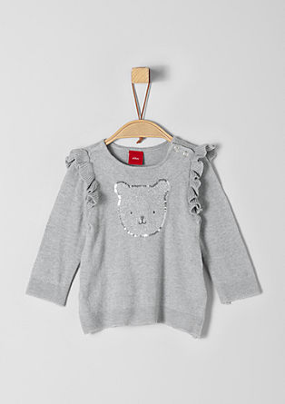 Lightweight knitted jumper with a bear artwork from s.Oliver