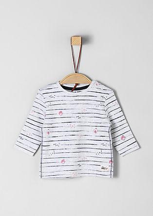 Gestreept shirt met vogelprint