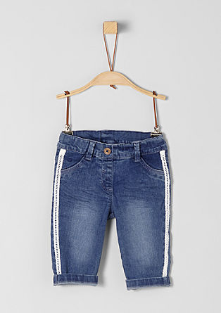 Jeans hlače s čipkastim trakom