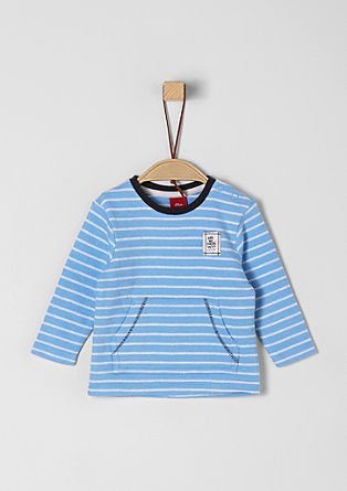 Striped terry cloth long sleeve top from s.Oliver