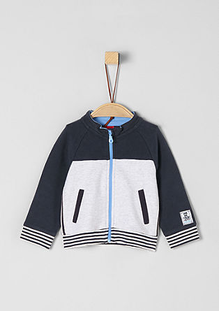 Sweatshirt jacket with colour blocking from s.Oliver