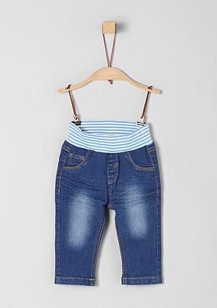 Jeans mit gestreiftem Rippbund