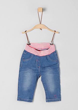 jeans hlače s črtastim rebrastim trakom
