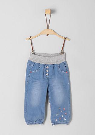 Jeans hlače z vezenino in udobnim robom v pasu