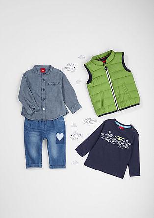 srajca s stoječim ovratnikom in vzorcem s teksturo