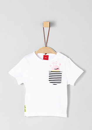 T-shirt with breast pocket and print from s.Oliver