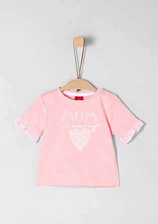 Sweet slub yarn T-shirt with frills  from s.Oliver