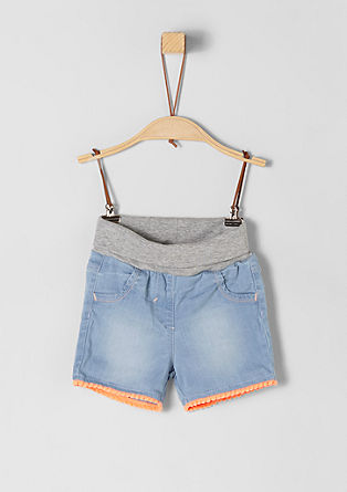 Denim shorts with a pompom border from s.Oliver