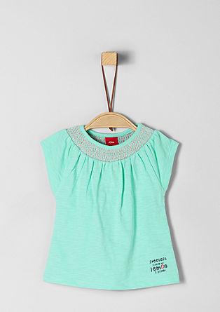 T-shirt met gesmokte hals