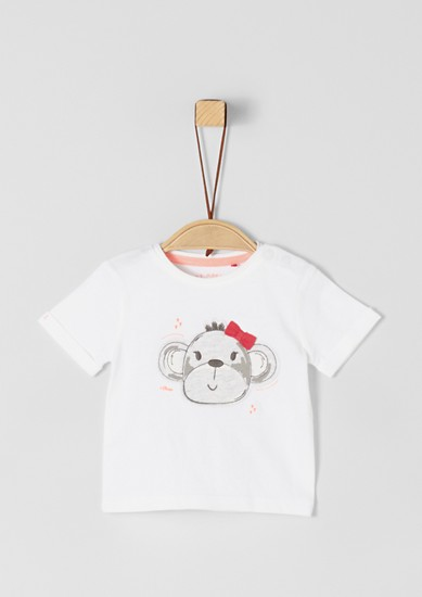 T-shirt with a monkey head appliqué from s.Oliver