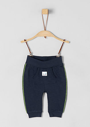 Jersey trousers with neon stitching from s.Oliver
