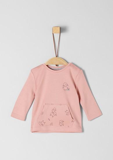 Tričko s dlouhým rukávem a klokaní kapsou