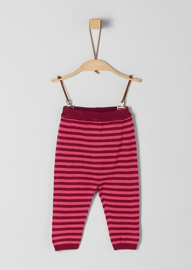 Proužkované pletené kalhoty