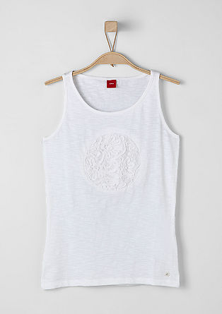 Tank top with crocheted lace from s.Oliver
