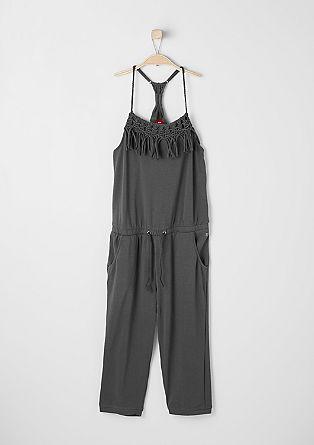 Jersey-Jumpsuit mit Flecht-Details