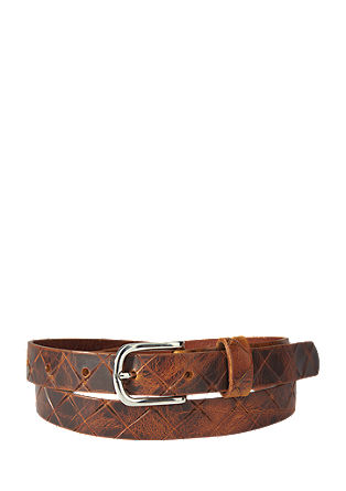 Leather belt with an embossed pattern from s.Oliver