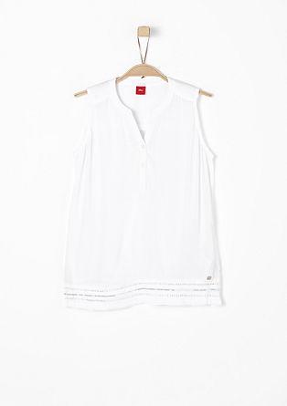 Bluza brez rokavov z obrobo z luknjičastim vzorcem
