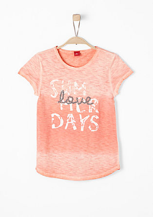 Slub yarn T-shirt with glittery lettering from s.Oliver