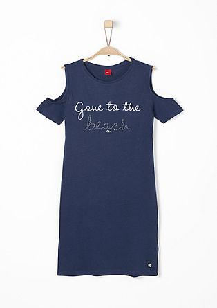 Schoudervrije jersey jurk