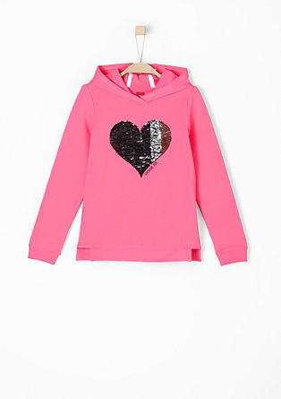 Hooded top with reversible sequins from s.Oliver