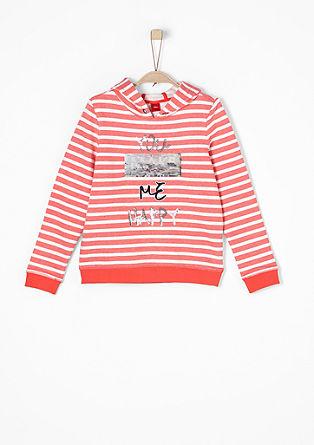 Streifen-Sweater mit Wendepailletten