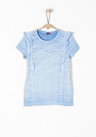 T-Shirt mit Wascheffekt und Volants