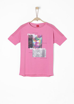 Fabricmix-Shirt mit Print-Collage