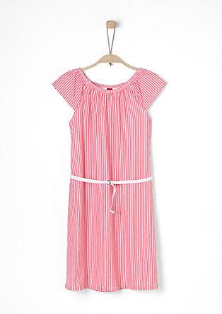 Kleid in Leinen-Optik mit Gürtel