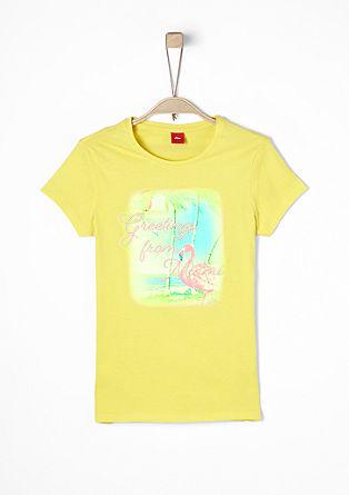 Majica kratek rokav z eksotičnim potiskom neonske barve