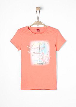 T-Shirt mit exotischem Neon-Print