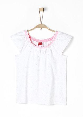 Melirana majica z elastičnim izrezom