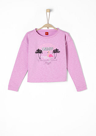 Cropped Sweater mit Exotik-Artwork