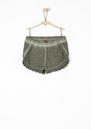 Jersey shorts with crochet lace from s.Oliver