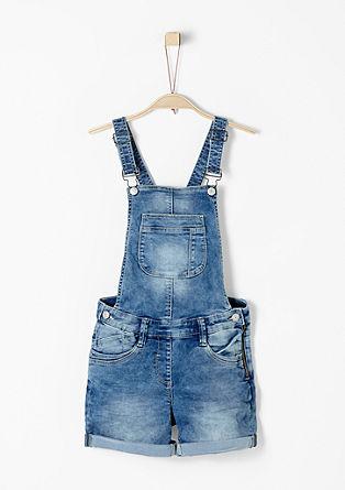 Denimové laclové kalhoty skrátkými nohavicemi